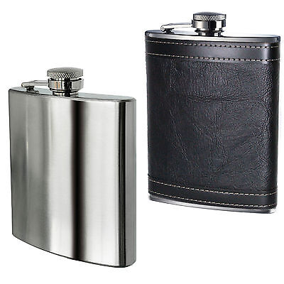 Hip Flask 8oz Stainless Steel or Leather effect 8oz UK Stock New Boxed