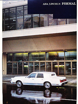 1987 1988 Lincoln Aha Town Car Limo Sales Brochure 4 76 Picclick