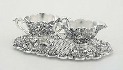 NEW Antique Reproduction Engraved Silverplate Creamer & Sugar Set