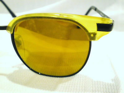 Vintage Reactor Japan Sunglasses Pearl Yellow Black