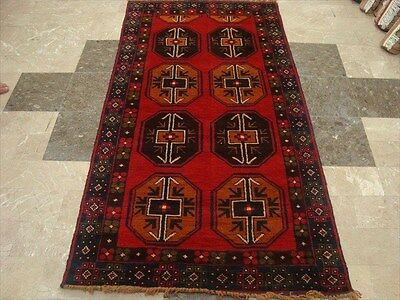BALAUCHI TRIBAL NOMADIC AFGHAN HAND KNOTTED RUG 6.4x3.5