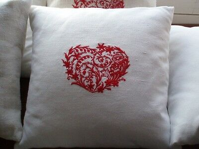 French Metis Linen Embroidered Heart Cushion Cover