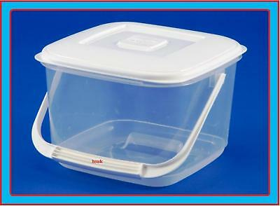6L SQUARE PLASTIC Food Storage Container With Handle Lid Canister