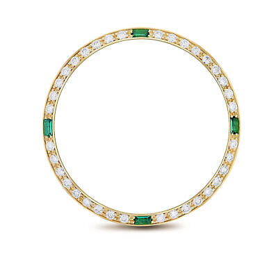 Mens 1Ct Diamond Bezel 18Ky For Rolex With 4 Emeralds