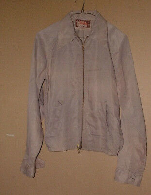 BEAUTIFUL VINTAGE 1940's RUGBY SILKY RAYON TAUPE COLORED JACKET-S !!