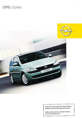 2002 Opel Corsa German Prospekt Sales Brochure