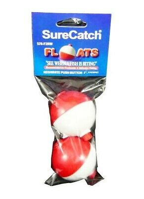 2 x 2 INCH PUSH BUTTON FISHING FLOATS RED/WHITE