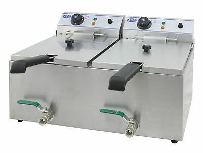 ACE Electric Twin 10L Commercial Deep Fat Fryer Best with Taps 6L Fill