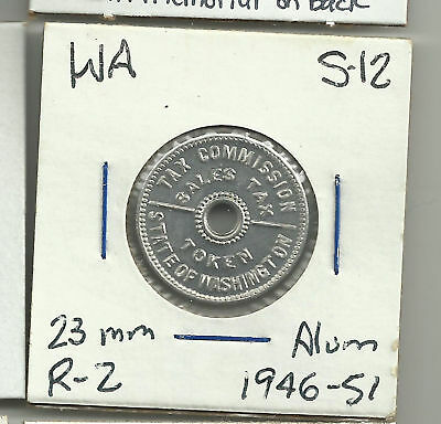 WA S-12 State of Washington Sales Tax Token 1946-51 Alu