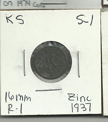 Kansas Sales Tax Token Zinc 1937 2 (mills) KS S-1 c des