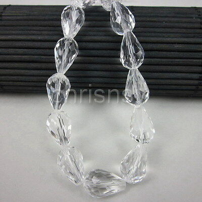 Free Ship 50x Glass Beads Faceted Drop Crystal 10x14mm