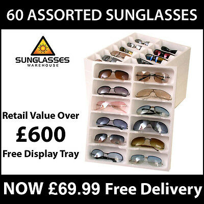 Wholesale Joblot 60 Assorted Sunglasses Various Styles & Free Display Trays