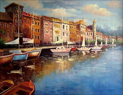Quality Hand Painted Oil Painting Villas with Docking Boats 36x48in