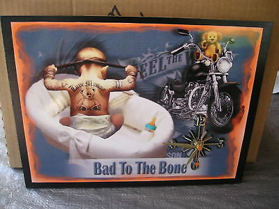 Bad to the Bone Baby Harley Wall Clock  Gr8 Gifts