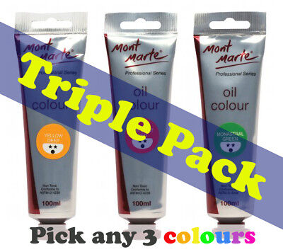 Mont Marte Professional Series Oil Paint 100ml (3 pce)