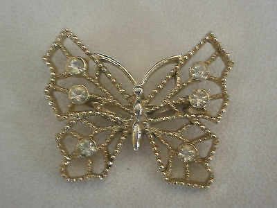 Vintage,Pierced Gilt Metal,Crystal Butterfly Pin