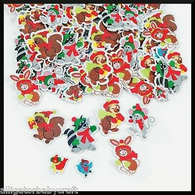 50 Foam Christmas Animal Stickers Shapes Kids ABCraft