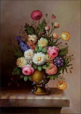 Hand Painted Oil Painting Still Life with Assorted Flowers 24x36in