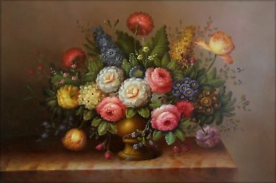 Hand Painted Oil Painting Still Life with Table Flowers 24x36in