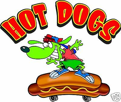 """Hot Dogs Skateboard Food Truck Restaurant Concession Decal 24"""""""