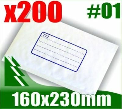 #01 x 200 Bubble Mailers 160x230mm Padded Bag Envelope
