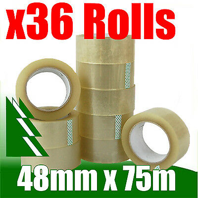 36 x Rolls Clear Packing Packaging Tape 48mm x 75m