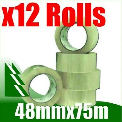 12 x Rolls Clear Packing Packaging Tape 48mm x 75m
