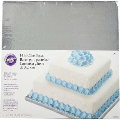 """Decorative Square 14"""" Silver Cake Bases from Wilton #0969"""