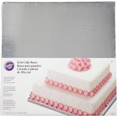 """Decorative Square 16"""" Silver Cake Bases from Wilton"""