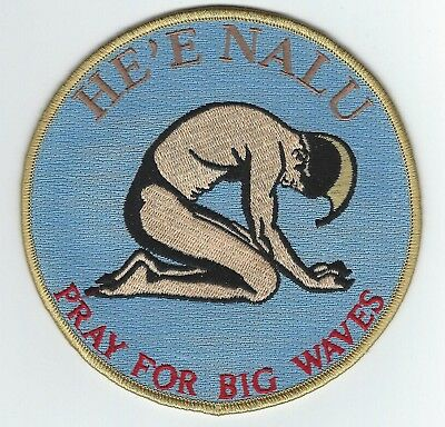 """PRAY FOR BIG WAVES PATCH 5"""" Cloth Hawaiian Surf a Free Shipping"""