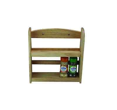 2 Tier Spice Herb Jar Rack Holder Stand Rack Wall Mounted Unit Wood Wooden 9221