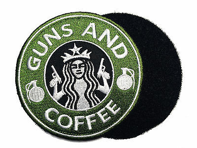 """Tactical Guns and Coffee Morale Military 4"""" patch"""
