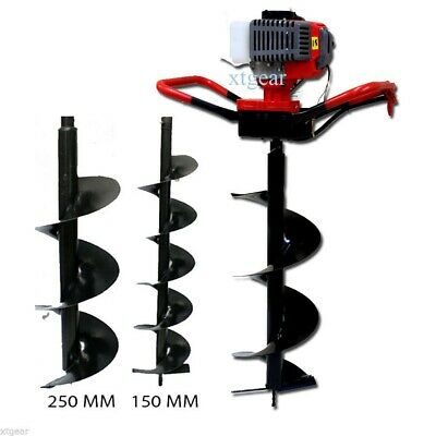 52cc Gas Earth Post Hole Digger for Soil Plant & Fencing w/ 2pc AUGER BITS