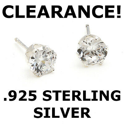 Sterling Silver 2 ct. Large 6mm Round CZ Studs Earrings