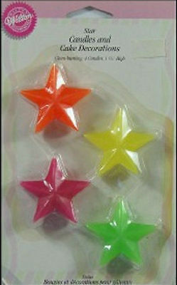 Neon Stars Candles and Decorations from Wilton - NEW