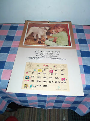 1975 Calendar Chippewa Falls Wis McGee's Carry Out Girl