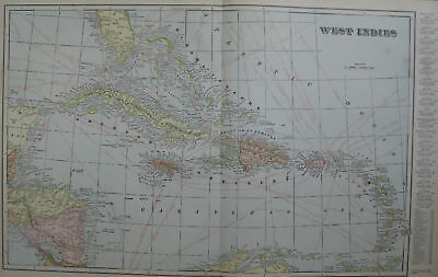 1901 Vintage MAP of WEST INDIES Beautiful! COLOR 13x20