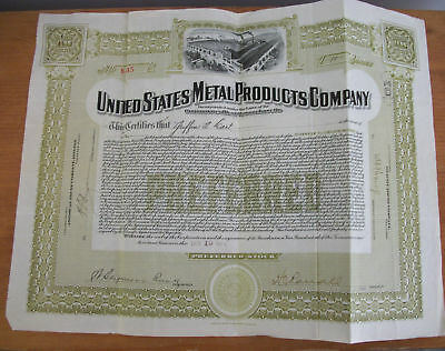 1912 UNITED STATES METAL PRODUCTS CO Stock Certificate