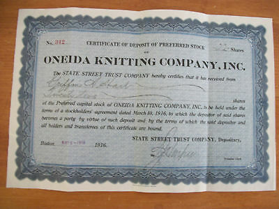1916 ONEIDA KNITTING Certificate of Stock Deposit