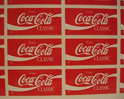 20 Coca Cola Classic Stickers Coca Cola USA Adv Sheet