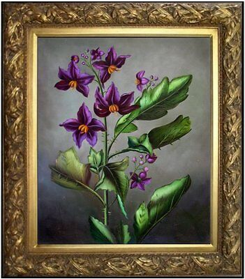Framed Quality Hand Painted Oil Painting Still Life with Purple Lilies 20x24in