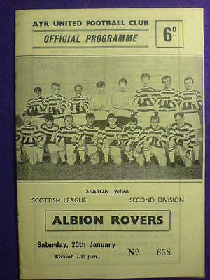 PROGRAMME - Ayr United v Albion Rovers - 20 Jan 1967