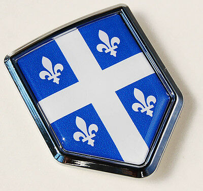 Quebec Canada Flag Chrome Emblem Car Decal Fleur De Lis