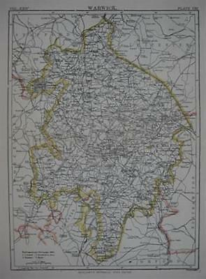1888 Shire Map WARWICK England Coventry Stratford Rugby