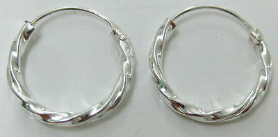 "REAL 925 STERLING SILVER 14mm ""TWIST HOOP"" SLEEPERS EARRINGS - TEEN GIRL WOMEN"