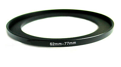 Step-up adapter ring 62-77 62mm-77mm Anodized Black NEW for Camera New US Seller