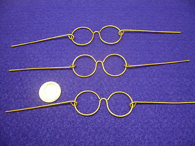 Vintage Santa Wire Frame Gold Eye Glasses 3 pair Made in Japan (no glass)