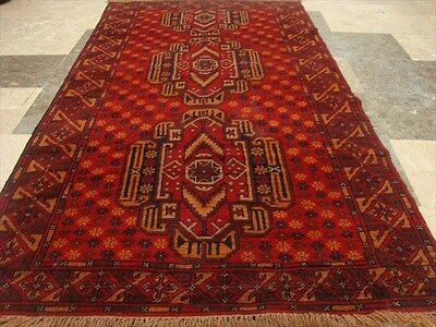 BALAUCHI TRIBAL NOMADIC AFGHAN HAND KNOTTED RUG 6.7x3.7