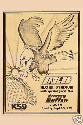 The Eagles & Jimmy Buffett at Hawaii Concert Poster 1979  12x18