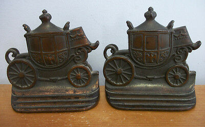 Vintage ROYAL COACH Bookends by W H Howell circa 1925